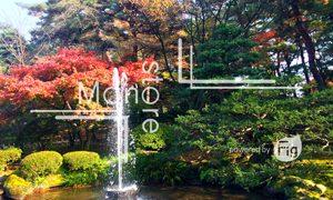 兼六園の紅葉と噴水の写真