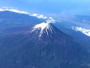 富士山の空撮写真