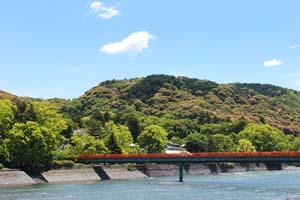 京都宇治川にかかる赤い橋