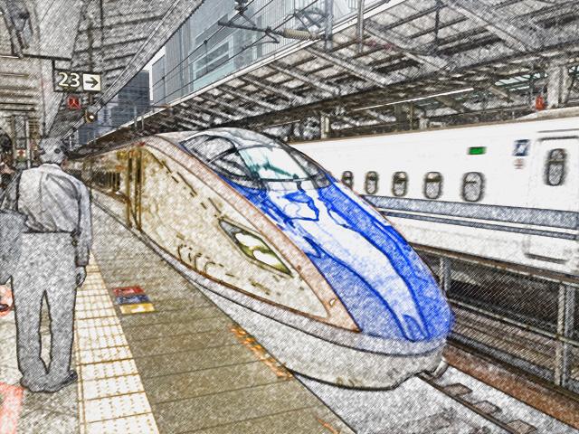 colorsheet 北陸新幹線のぬり絵20001完成イメージ