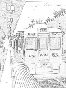 20006 colorsheet Kyoto hankyū Arashiyama Line trains coloring pages