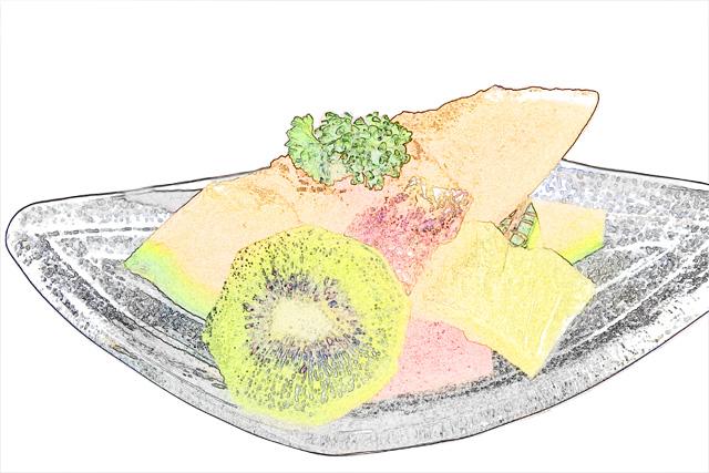 colorsheet フルーツ盛り合わせのぬり絵20009完成イメージ