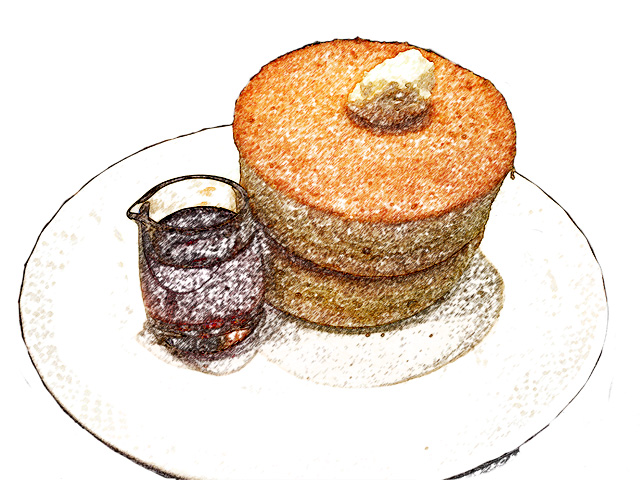 colorsheet パンケーキとシロップのぬり絵20010完成イメージ