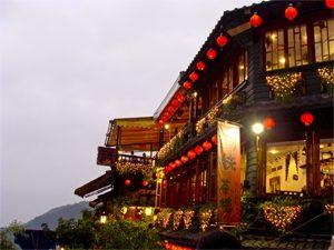提灯が映える台湾九份の町の写真[Photo10191]