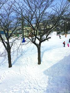 スキー場で遊ぶ子供と雪に残る足跡の写真