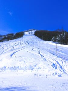 斑尾高原スキー場中腹からみた青空の写真