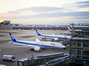 ANA飛行機と羽田空港駐機場の写真[Photo10250]